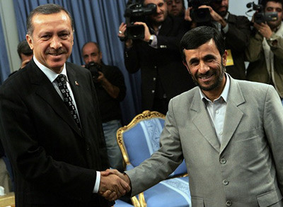 Best of friends? Erdogan (left) with Ahmadinejad.