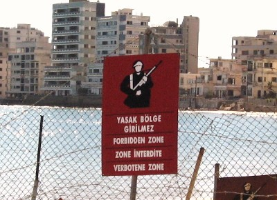A sign on the fence around Varosha, Cyprus.