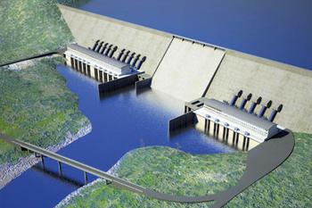 Représentation du grand barrage éthiopien de la renaissance, actuellement en construction.