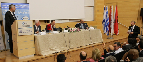 Kemal Ökem (standing right) and me (standing left) in discussion.